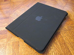 A 64 GB iPad in the case accessory.