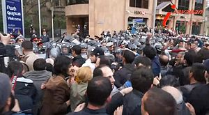 2013 Armenian protests - The clash between the protesters and policemen on Baghramyan Avenue on 9 April 2013