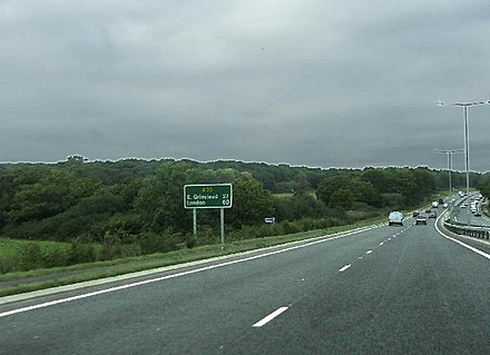The A22(T) with line markings near Summer Hill, East Sussex, England A22 northbound towards East Grinstead - geograph.org.uk - 68150.jpg