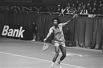 Rotterdam Open - Arthur Ashe (pictured here during the 1975 tournament) holds the joint-record for most singles titles with three wins (1972, 1975–76).