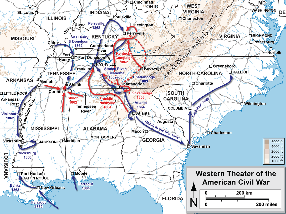 Western Theater Of The American Civil War Wikipedia - Us map of civil war battles