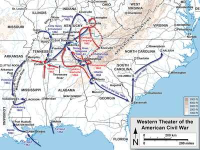 Western Theater Of The American Civil War Wikipedia - Us-civil-war-map-of-battles