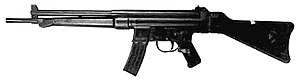 StG 45(M) - The CEAM ''Modèle'' 1950, a French effort to put the StG 45(M) concept into mass production. Chambered in .30 Carbine.