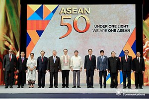 Association of Southeast Asian Nations - Philippine President Rodrigo Duterte poses for a photo with the ASEAN foreign ministers during the 50th anniversary of the group's foundation on August 8, 2017.