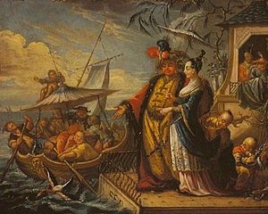 Chinese marriage - A European painting of an emperor of China inspecting his fantasy fishing fleet with his concubines