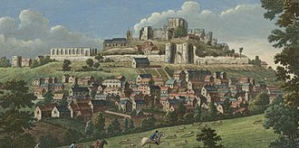 Denbigh Castle and town walls - A depiction of the castle and town walls around 1750, showing the slighted ruins of the castle