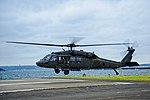 A U.S. Army UH-60 Black Hawk helicopter carrying U.S. Secretary of Defense Chuck Hagel lands at Naval Base Yokosuka, Japan, Oct. 4, 2013 131004-N-XG494-096.jpg
