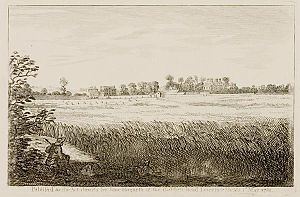 John Ranby - Engraving by William Hogarth from the 1750s, view of John Ranby's house at Chiswick.