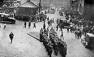Boston Police Strike - A company of Massachusetts Militia await assignment to police duty during the strike