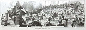 The Cambridge Union - A debate at the Cambridge Union Society (c. 1887). There is no longer a dress code for members attending debates today.