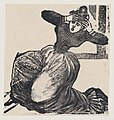 A gasping woman on the ground with her hands raised to her head, from a broadside entitled 'Gaceta Callejera' MET DP869381.jpg