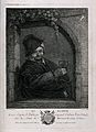 A man with glass in hand stands by a window. Engraving by P. Wellcome V0019504.jpg