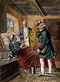 A sick man at home in bed discussing his case with three phy Wellcome V0016079.jpg