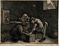 A surgeon treating the foot of a male patient. Etching by C. Wellcome V0016751.jpg