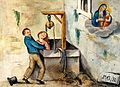 A woman who has fallen down a well being rescued by a man pr Wellcome V0017424.jpg