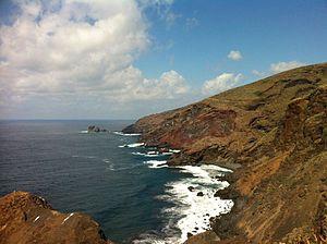 Cueva del Agua, Garafia - La Palma, N-W: cliffs of Garafía's municipality and the Callejoncito beach