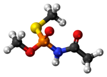 Ball-and-stick model of the acephate molecule