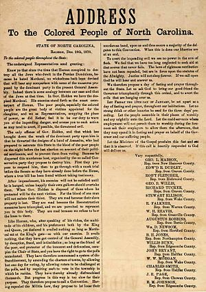 William Woods Holden - Address to the Colored People of North Carolina. Broadside published December 1870 signed by 17 state legislators warning of consequences of removal from office of Governor Holden