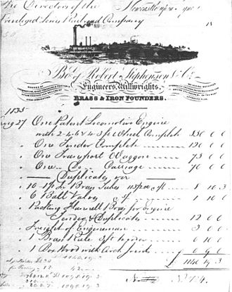 Adler (locomotive) - Bill for the Adler of the Bavarian Ludwig Railway, issued by the locomotive factory Robert Stephenson and Company on 27 August 1835