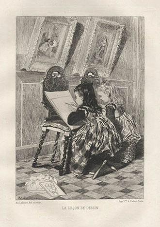 Adolphe Lalauze - La Leçon de Dessin (The Drawing Lesson) 1880
