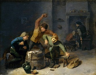Adriaen Brouwer - Peasants brawling over cards