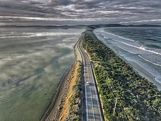 Bruny Island - Aerial perspective of the isthmus of Bruny Island