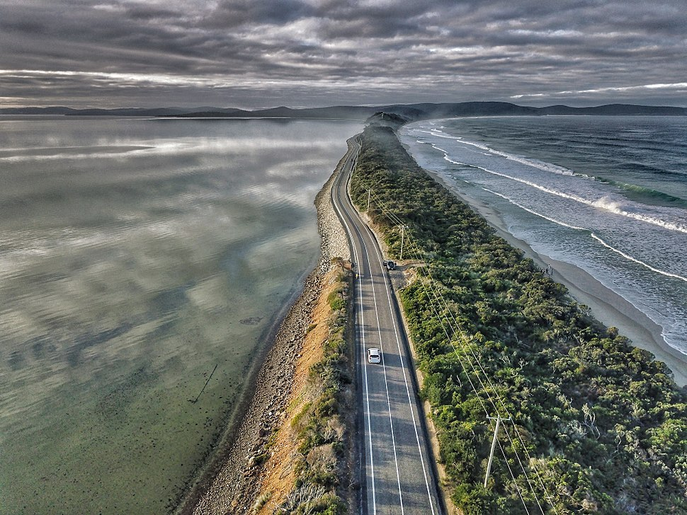 Aerial perspective of the isthmus of Bruny Island