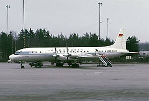 Aeroflot accidents and incidents in the 1960s - An Aeroflot Ilyushin Il-18D at Arlanda Airport, Stockholm, Sweden. (1971)