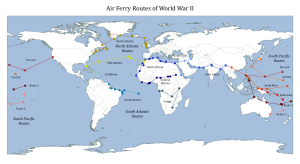 South Pacific air ferry route in World War II - The Air Ferry Routes of WWII, including North Atlantic Route, South Atlantic Route and South Pacific Route