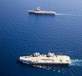 Aircraft carriers HMS Queen Elizabeth (R08) and Charles de Gaulle (R91) underway in the Mediterranean Sea on 3 June 2021 (210603-M-MS099-336).JPG