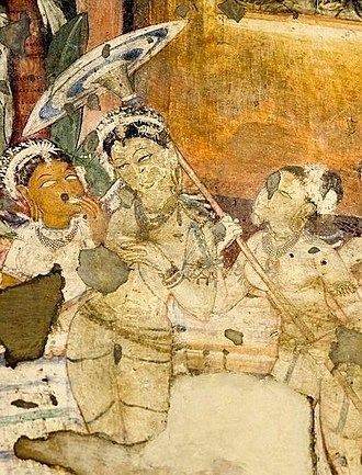 Oil-paper umbrella - A painting in Ajanta site, 2nd century B.C. to 6th Century A.D.