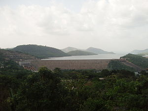 Akosombo dam with the hydroelectric power station