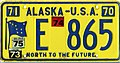 Alaska 1975 license plate sticker on 1970 license plate - Number E 865.jpg
