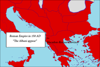 The location of the Albanoi tribe 150 AD Albani150ADRomanEmpire.png