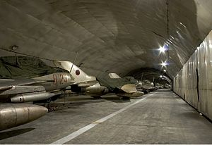 Kuçovë Air Base - Albanian Air Force Shenyang F-6 fighters within Kuçovë Air Base's tunnel.