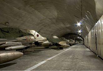 Kuçovë Air Base - Albanian Air Force Shenyang F-6 fighters within Kuçovë Air Base's tunnel.