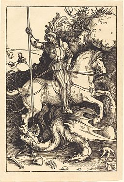 Woodcut by Albrecht Dürer showing Saint George on horseback killing a dragon
