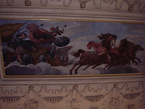 Albrecht von Wallenstein - Wallenstein depicted as Mars, the God of war, riding the sky in a chariot pulled by four horses. Ceiling decoration in the main hall of the Wallenstein Palace