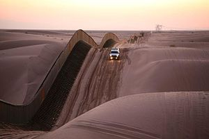 Mexico–United States barrier - The United States Border Patrol in the Algodones Dunes, California