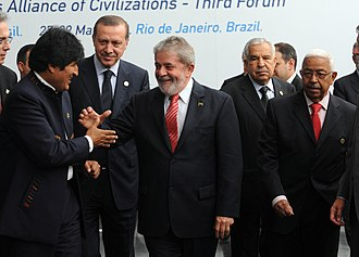 Foreign policy of the Evo Morales administration - Evo Morales together with Turkish Prime Minister Tayyip Erdogan, Brazilian President Lula da Silva and Cape Verde's President Pires at the Alliance of Civilizations Forum.