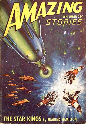 "Edmond Hamilton - The first ""Star Kings"" story was cover-featured on the September 1947 issue of Amazing Stories"