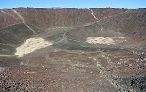 Amboy Crater - Interior of Amboy Crater from near breach showing lava lakes.