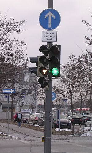 Traffic light in Munich, Germany, showing a sp...