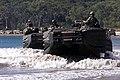 Amphibious assault vehicles move across Freshwater Beach in Queensland, Australia during exercise Tandem Thrust 2001.jpg