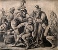 An itinerant surgeon extracting stones from a man's head; sy Wellcome V0016245.jpg