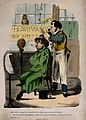 An uncouth man smoking a pipe whilst having his hair cut. Co Wellcome V0019658.jpg