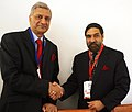 Anand Sharma greets the High Commissioner of India to UK, Shri Kamalesh Sharma on being elected as the Secretary General of the Commonwealth at Kampala, Uganda on November 24, 2007.jpg