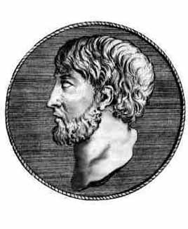 Side view of the head and neck of Anaximenes of Miletus in a circle, all monochrome
