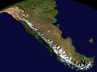 Composite satellite image of the southern Andes