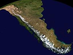 Satellitbillede over det sydlige Andesbjergene